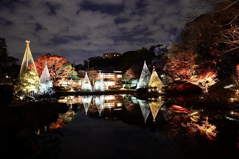 肥後細川庭園 秋の紅葉ライトアップ ひごあかり