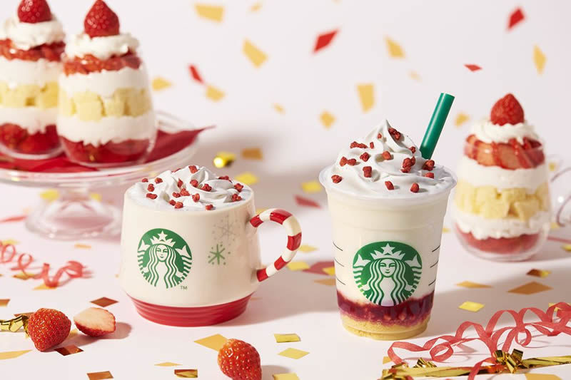 スターバックス クリスマスビバレッジ「メリーストロベリー ケーキ フラペチーノ」「メリーストロベリー ケーキ ミルク」