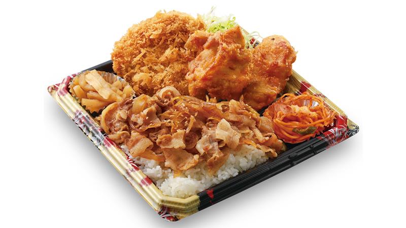 生姜焼丼から揚げチキンカツ弁当