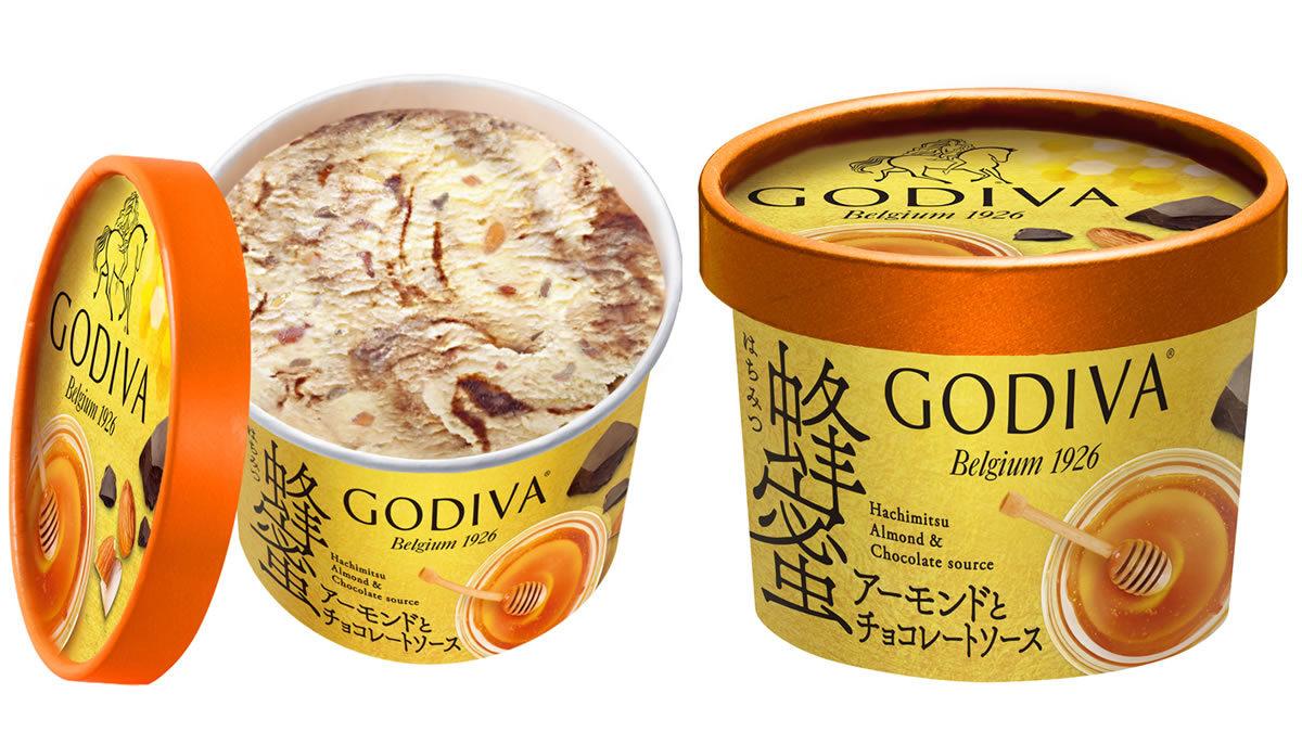ゴディバ カップアイス 蜂蜜アーモンドとチョコレートソース