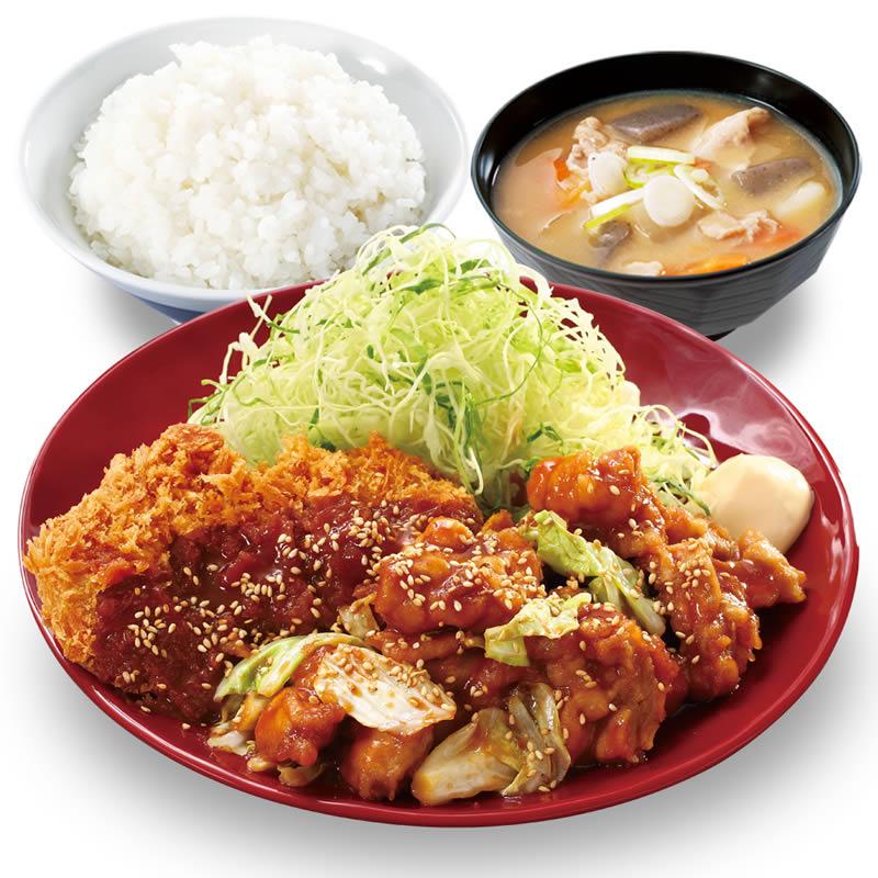 鶏ちゃん焼きチキンカツ定食