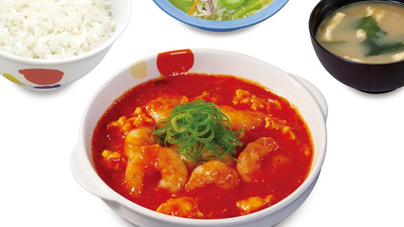 松屋 海老のチリソース定食