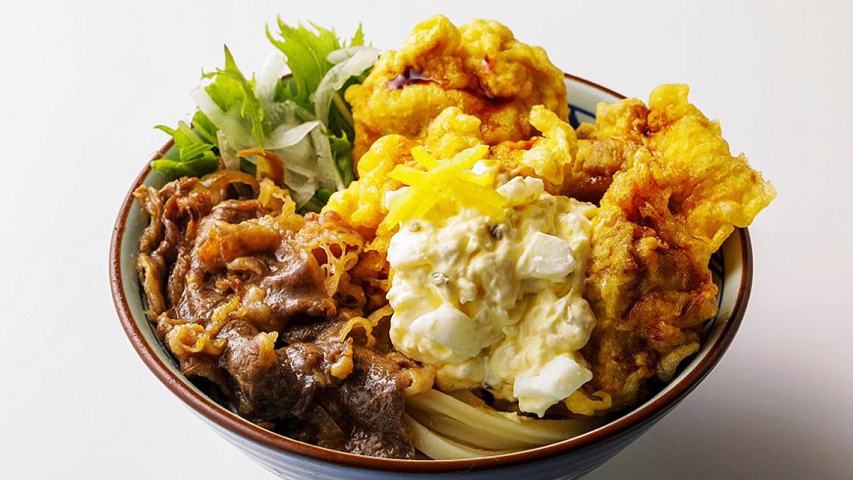 丸亀製麺 漢気おとこぎ 牛肉タル鶏天ぶっかけうどん