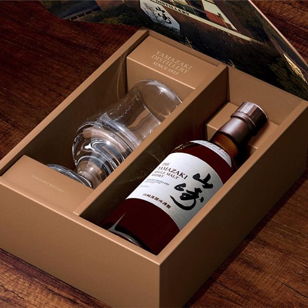 シングルモルトウイスキー山崎180ml」と「山崎ロゴ入り特別テイスティンググラス