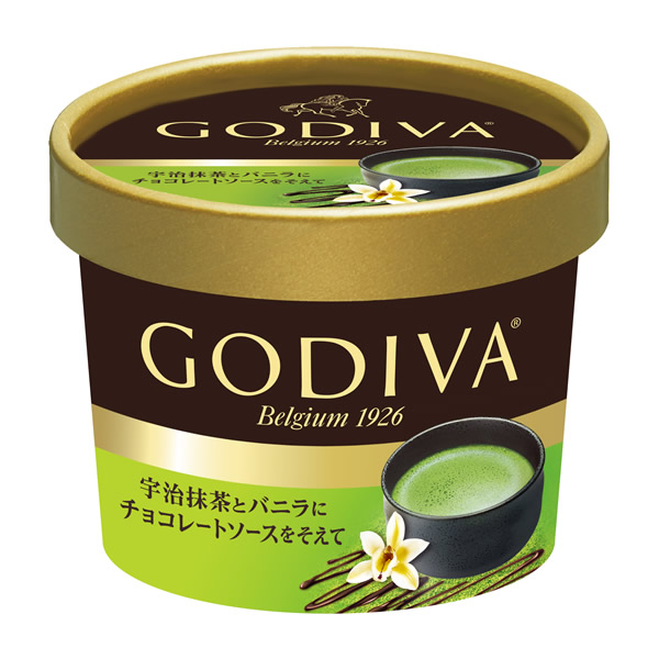 ゴディバ カップアイス「宇治抹茶とバニラにチョコレートソースを添えて」