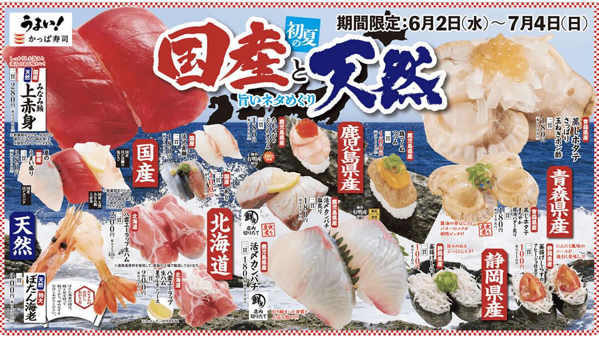 かっぱ寿司「初夏の国産と天然 旨いネタめぐり」フェア