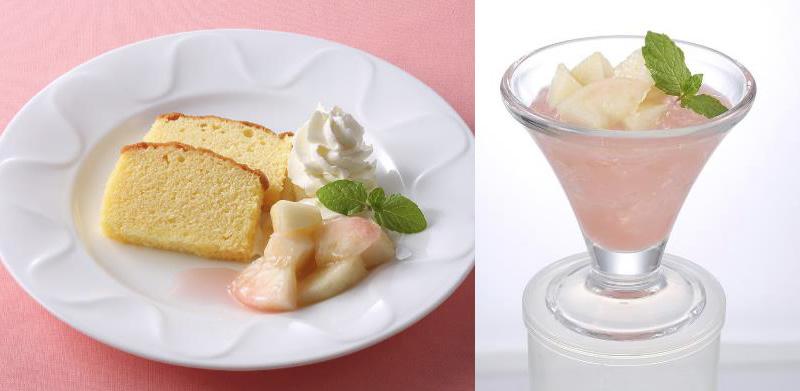 パウンドケーキ 桃飾り 桃のゼリー仕立て