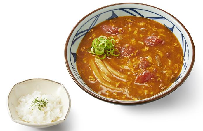 丸亀製麺 トマたまカレーうどん ひと口ごはん付