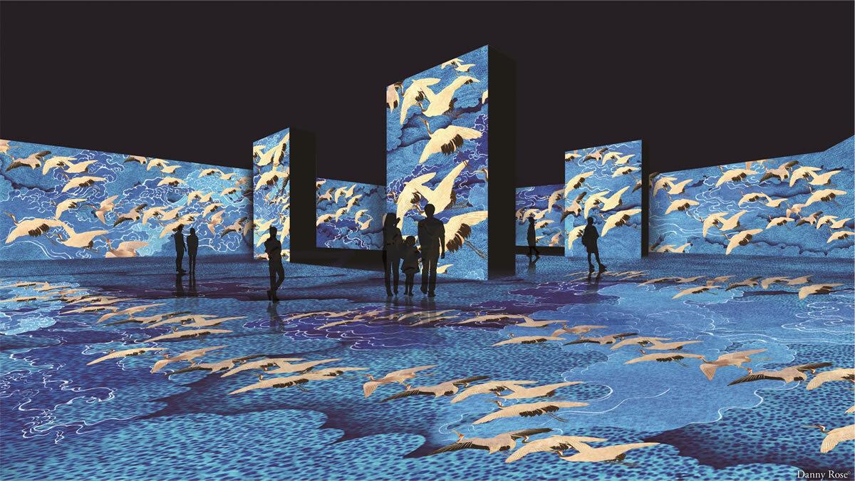 所沢・角川武蔵野ミュージアムで360度体験型コンテンツ「浮世絵劇場 from Paris」